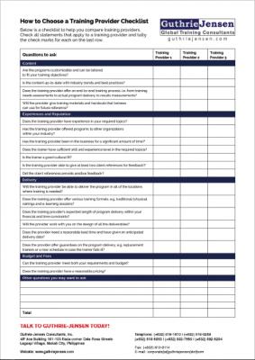 Training Provider Checklist Cover